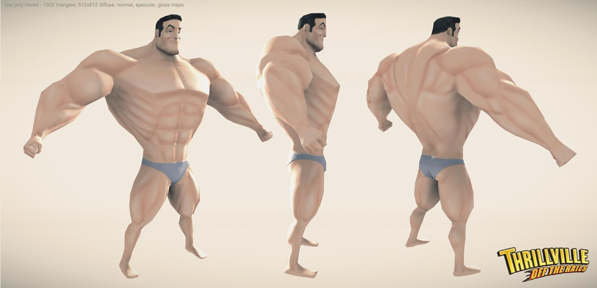 Bodybuilder model - low poly