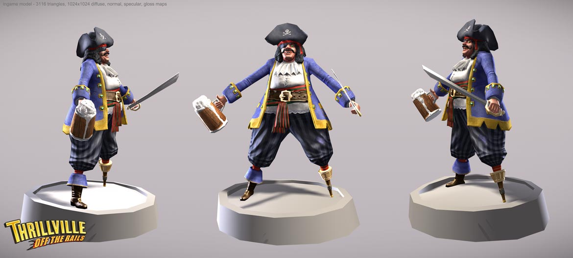 Captain model - low poly