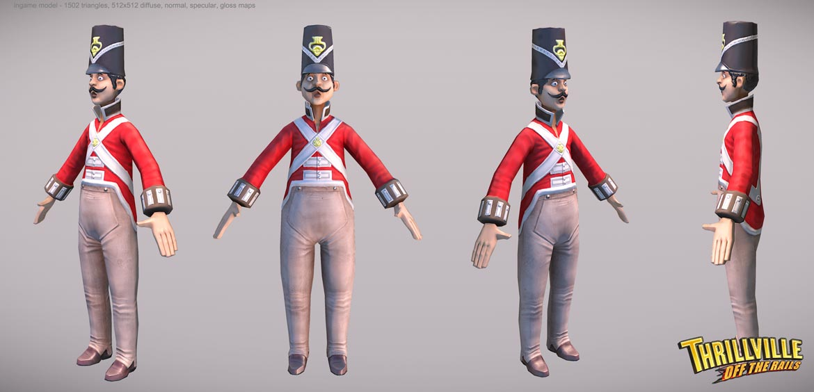 Thrillville: Off the Rails - Red Captain low poly